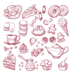 tea and coffee different elements sweets vector image vector image