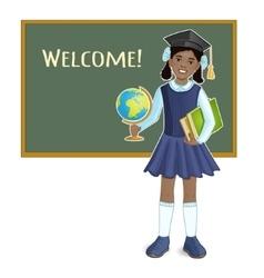 African american schoolgirl at blackboard vector image vector image