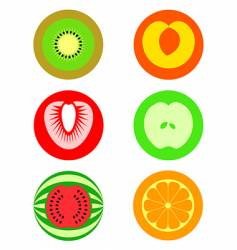 cut fruit symbols vector image