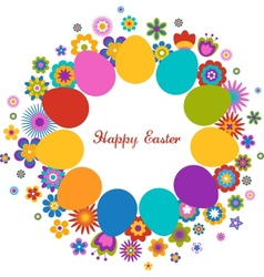 easter greeting card with egg and flowered pattern vector image