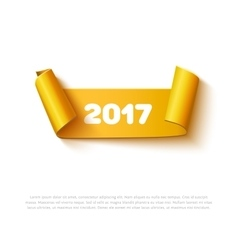 Happy new year 2017 paper roll banner with vector