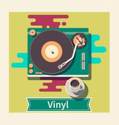 retro vinyl turntable flat vector image