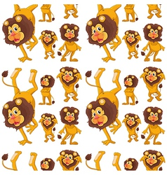 Seamless design with lions vector image