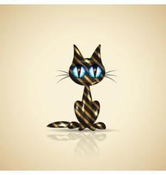 Golden present cat for your design vector image