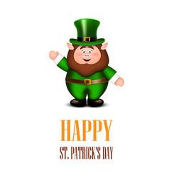 happy leprechaun waving hand saint patricks day vector image