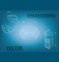 Machine-building drawings on a blue - white vector