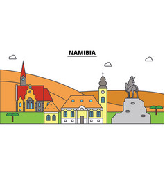 namibia outline city skyline linear vector image vector image