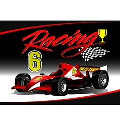 Red open wheel racing car with trophy vector image vector image