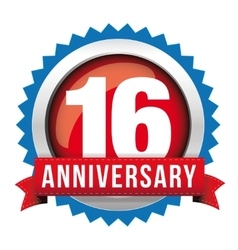 Sixteen years anniversary badge with red ribbon vector image vector image