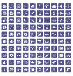 100 mobile app icons set grunge sapphire vector image