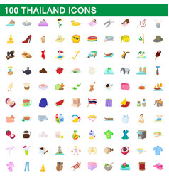100 thailand icons set cartoon style vector image