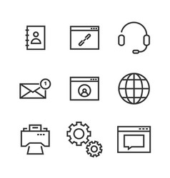 9 contact line icons vector image