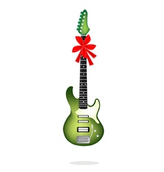 A Beautiful Green Electric Guitar with Red Ribbon vector image