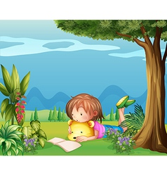A girl with a bear reading a book vector image