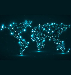 abstract polygonal world map with glowing dots vector image