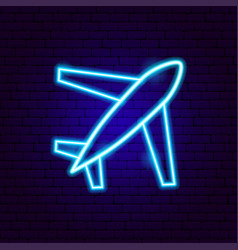 airplane travel neon sign vector image
