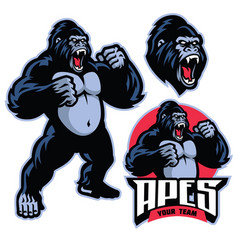 angry gorilla mascot standing vector image