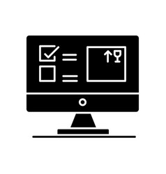 Automated tracking system black glyph icon vector