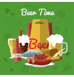 Beer flat composition vector