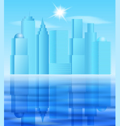 big city landscape with reflection on water vector image