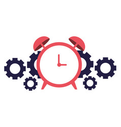 business alarm clock and gears vector image
