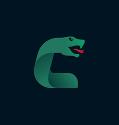 C letter logo with snake head silhouette vector