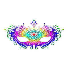 Carnival mask icon colorful silhouette isolated vector
