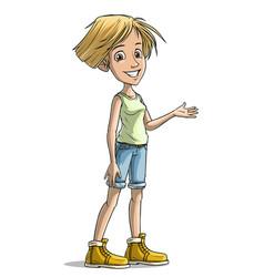Cartoon blonde cheerful girl character vector