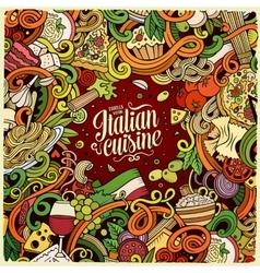 Cartoon hand-drawn doodles Italian food frame vector