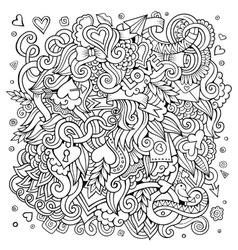 Cartoon hand-drawn Love Doodles Sketchy vector image