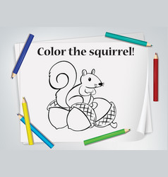 children squirrel coloring worksheet vector image