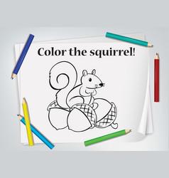 Children squirrel coloring worksheet vector