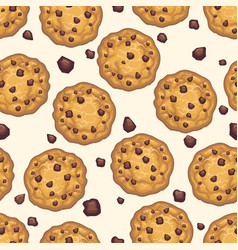 Choco chip cookie seamless pattern vector