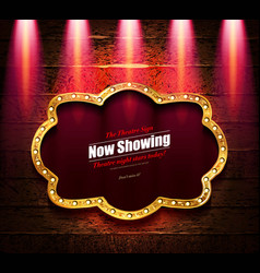 Cinema and theater retro now coming sign vector