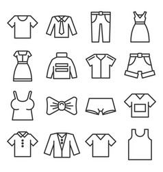 clothing icons set on white background line style vector image