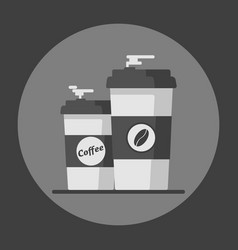 Coffee cup with coffee beans on grey background vector