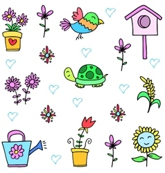 Collection stock of spring set doodles vector