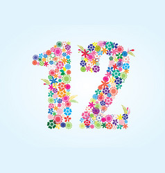 Colorful floral 12 number design isolated on vector
