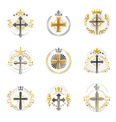 crosses religious emblems set heraldic coat of vector image