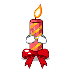 Crying christmas candle combined with pita cartoon vector