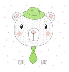 Cute bear boy portrait vector