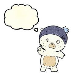 cute cartoon polar bear with thought bubble vector image