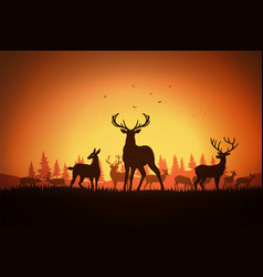 Deer at field vector
