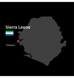 Detailed map of Sierra Leone and capital city vector image