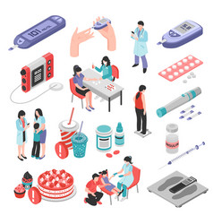 Diabetes treatment isometric set vector