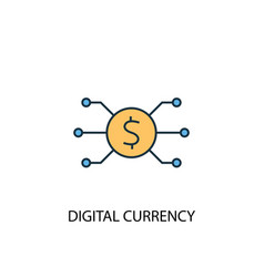 digital currency concept 2 colored line icon vector image