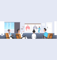 doctor showing injured lungs with coronavirus vector image
