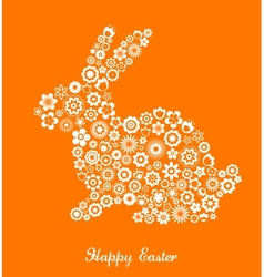 Easter greeting card with bunny and flowered patte vector