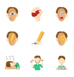 Emotions icons set cartoon style vector image
