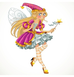 Fairy in pink dress with wings vector image